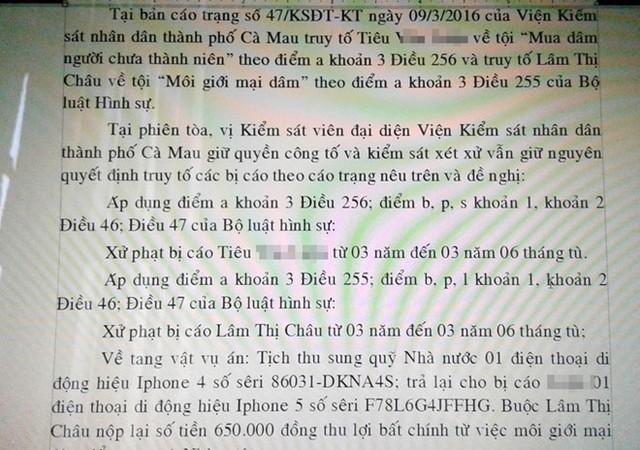 Đại diện VKSND TP Cà Mau đề nghị mức án cho 2 bị cáo từ 3 đến 3 năm 6 tháng tù. Ảnh: Việt Tường.
