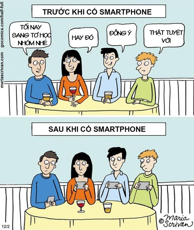 Những cuộc tụ tập cũng thay đổi theo sự phát triển của smartphone. Trước đây, bạn bè gặp nhau cười nói rôm rả còn ngày nay, ngồi cùng nhau nhưng tay ai cũng bận lướt, mắt thì bận dán vào chiếc smartphone.