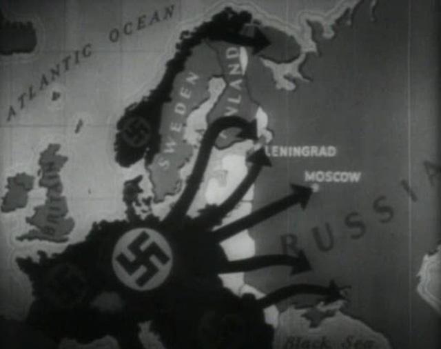 Hình mô tả quân Đức (màu đen) tràn đến Liên Xô