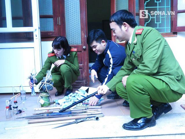 Lực lượng Công an TP.Lai Châu kiểm tra số tang vật thu giữ