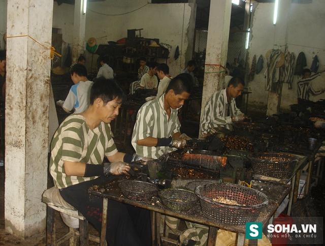 Phạm nhân lao động sản xuất.