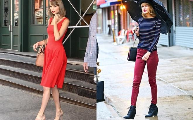 Ngay cả khi diện váy dài nữ tính hay quần skinny năng động, Taylor Swift vẫn hút hồn người hâm mộ bởi vóc dáng thanh mảnh quyến rũ.