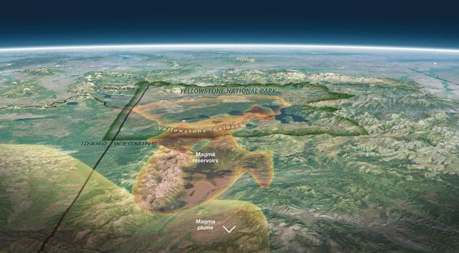 Đồ họa 3D lò magma siêu lớn bên trên siêu núi lửa Yellowstone. Ảnh: Nationalgeographic.