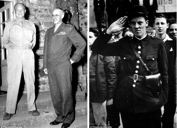 Tướng Dwight Eisenhower và Omar Bradley tại Château des Mares (trái), cảnh sát tiếp quản thị trấn Cherbourg sau khi giải phóng.