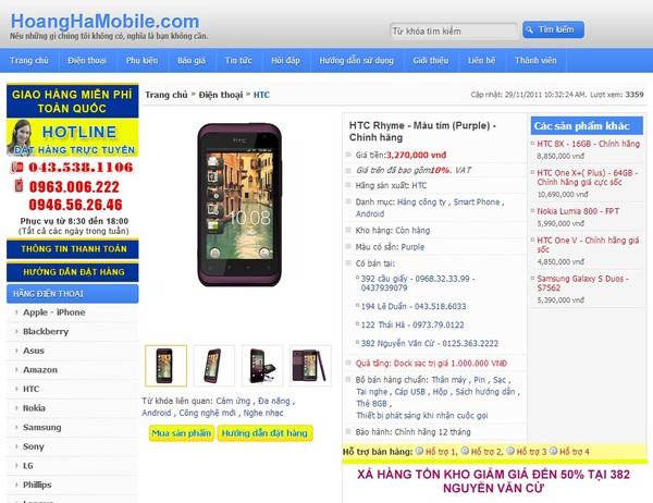 Tại Hoàng Hà Mobile, giá bán của chiếc điện thoại này chỉ 3.270.000 đồng.