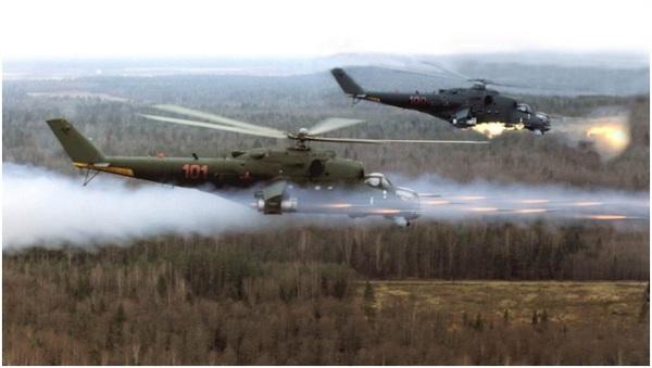 Mi-24 trong một cuộc tập trận của Không quân Liên bang Nga.
