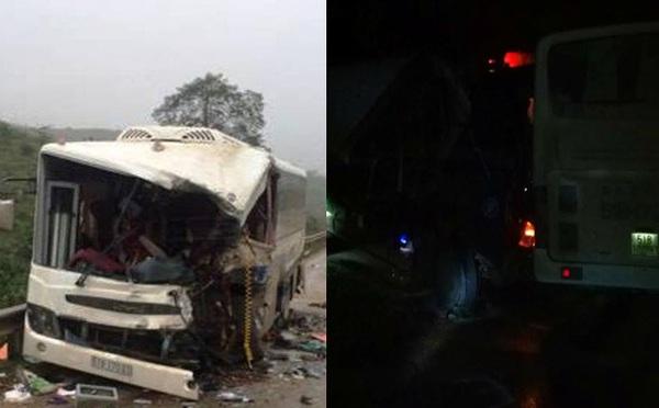 Xe khách tông xe tải tài xế chết trong khoang lái tại Thanh Hóa