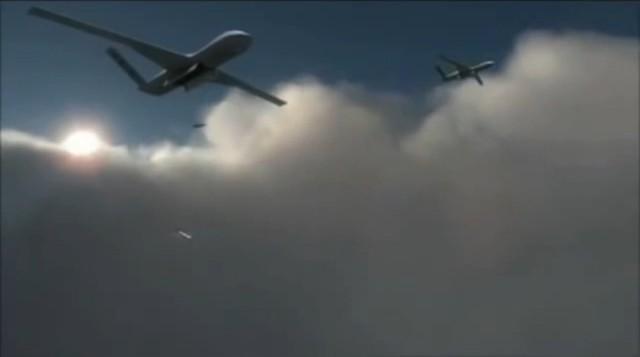 """Sau khi phát hiện thấy mục tiêu đang được hệ thống S-300 bảo vệ nhờ hệ thống cảm biến điện tử, """"kẻ báo thù"""" Predator C Avenger đã thực hiện thả bom SDB để tiêu diệt mục tiêu của Nga."""