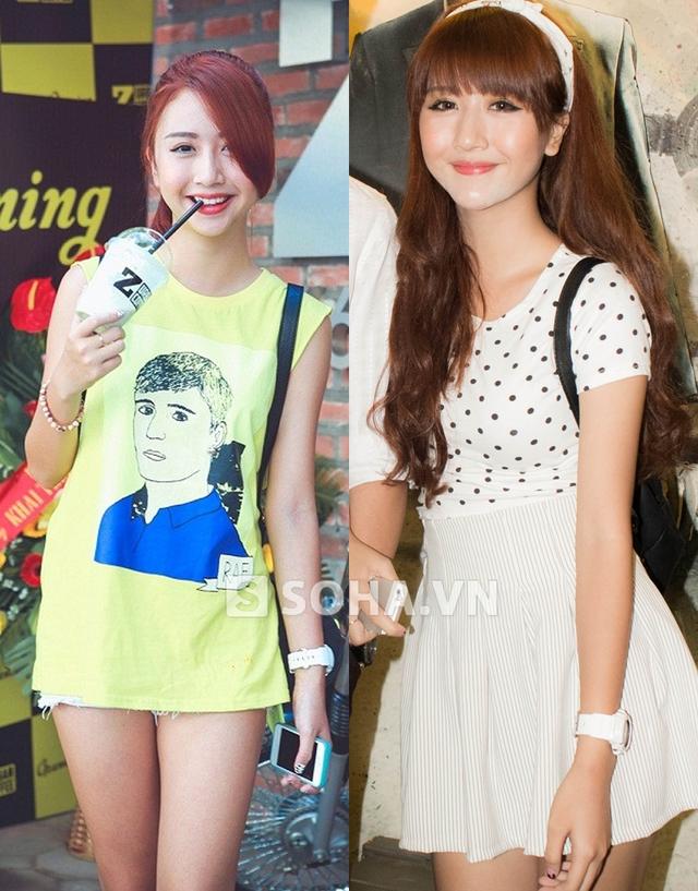 Hình ảnh bên trái được chụp cách đây hai tuần, khi Quỳnh Anh đến khai trương một quán cafe. Ảnh bên phải là chân dung của Quỳnh Anh Shyn ở thời điểm hiện tại.