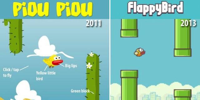 Hình ảnh so sánh Piou Piou (trái) và Flappy Bird (phải) được một số trang tin Pháp đăng tải. Cả hai đều có nhân vật chính là chú chim nhỏ màu vàng với đôi môi to bự, người chơi phải clip/gõ màn hình để điều khiển chim bay vượt các chướng ngại vật màu xanh (ở Piou Piou là cây xương rồng, ở Flappy Bird là ống khói)