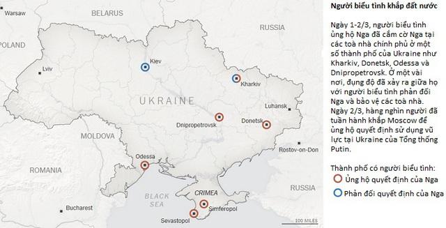 Bản đồ: Toàn cảnh khủng hoảng Ukraine và vị trí lực lượng Nga