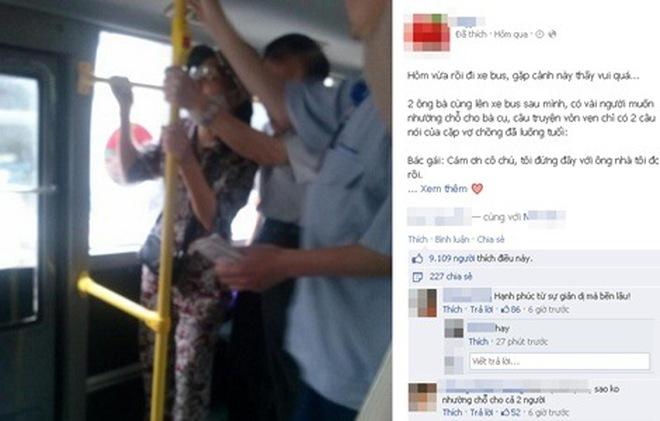 Xúc động chuyện tình 2 cụ già trên xe bus