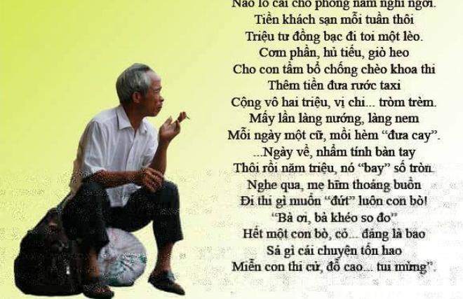 Bài thơ rưng rưng về người cha đưa con đi thi