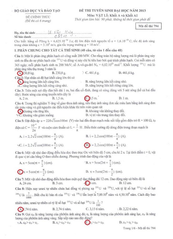 Đáp án đề thi môn Vật lí khối A và A1 năm 2013 (mới cập nhật)