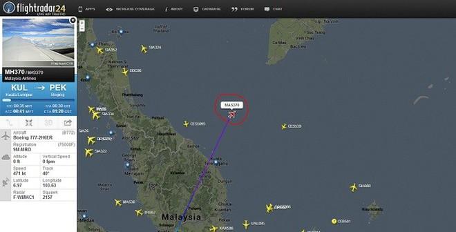 Hình ảnh vị trí cuối cùng của máy bay Malaysia trước khi biến mất