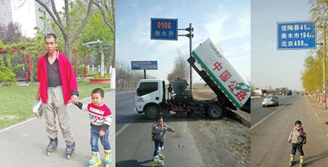 Cha dẫn con 4 tuổi trượt patin 540km để... dạy cách sống