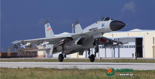 Chiến đấu cơ J-11BH của Trung Quốc tập trận trái phép ở quần đảo Hoàng Sa của Việt Nam hồi tháng 10/2015. (Ảnh: 81.cn)