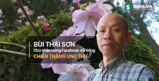 Cành hoa đào là biểu trưng đặc biệt của Facebook Bùi Thái Sơn - Chiến thắng Ung thư. Xử lý ảnh: Mạnh Quân
