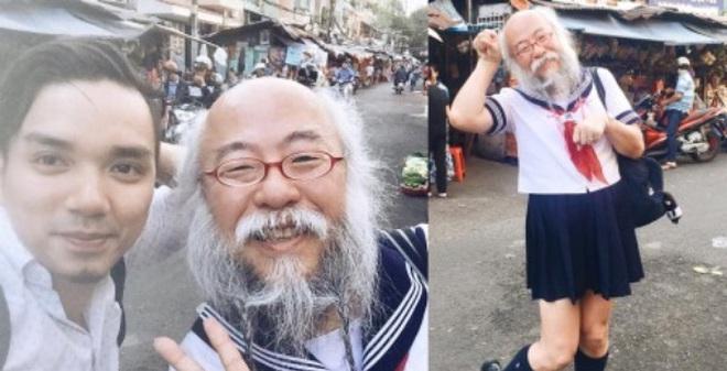 """Dân tình xôn xao khi """"Cụ ông váy thủy thủ"""" xuất hiện giữa Sài Gòn"""