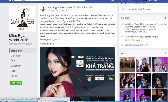 Siêu mẫu Khả Trang làm giám khảo Hoa hậu Thế giới Ai Cập 2016 - Ảnh 1.