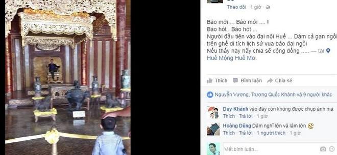 Kiểm tra hình ảnh nam thanh niên ngồi lên ngai vàng ở cung điện Thái Hòa - Ảnh 1.