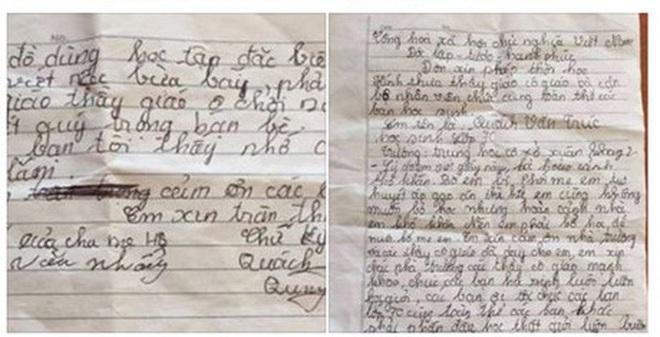 Lá đơn xin nghỉ học đẫm nước mắt của nam sinh lớp 7