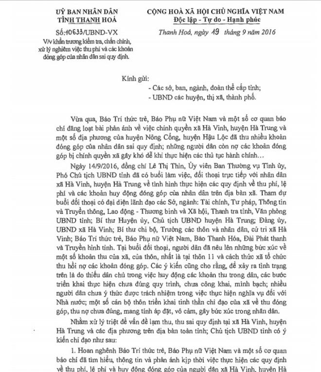 Mùa đóng góp hãi hùng ở Thanh Hóa: Phải dừng ngay việc thu sai - Ảnh 1.
