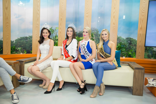 Hoa hậu Hoàn cầu Khánh Ngân rạng rỡ trên đài truyền hình quốc tế - Ảnh 1.