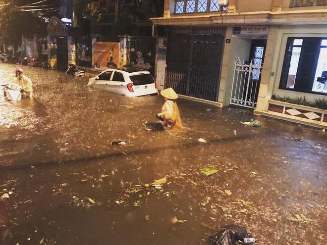 Hà Nội mưa xối xả, nhiều tuyến phố ngập rất sâu - Ảnh 3.