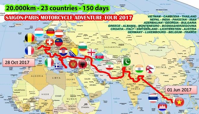 Chàng trai phượt bằng xe máy từ Việt Nam, vượt 20 nghìn km qua 23 quốc gia trong 150 ngày - Ảnh 2.