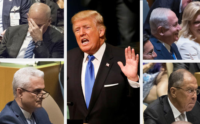 Muôn hình vạn trạng phản ứng của đại biểu với bài nói của ông Trump tại ĐHĐLHQ