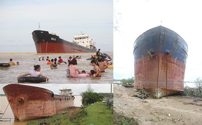 """Ảnh: Những con tàu """"khổng lồ"""" đang mắc cạn trên biển Nghệ An sau bão Talas"""