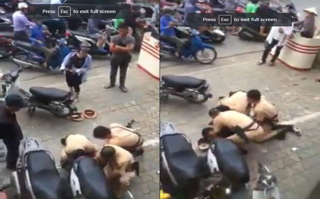 CSGT khống chế nam thanh niên đòi nợ thuê vi phạm luật giao thông trên phố Hà Nội