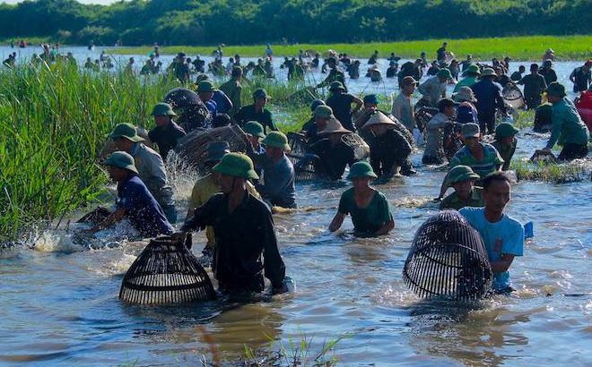 Cả làng hú lớn, tay nơm tay lưới ào xuống vực đánh cá Đồng Hoa