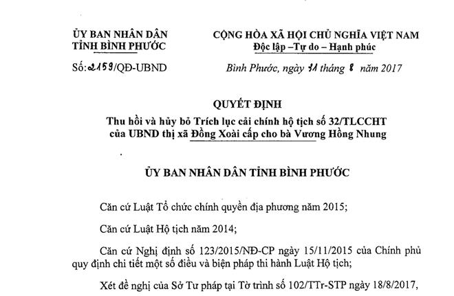 Bình Phước: Thu hồi, hủy bỏ việc cải chính tuổi con gái Phó GĐ Sở - Ảnh 1.