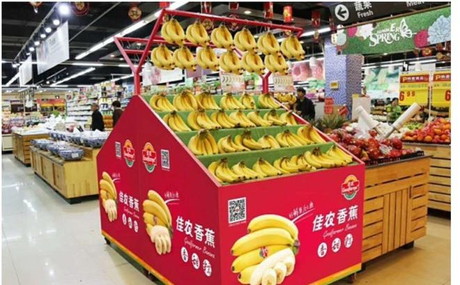 Chuối của công ty bầu Đức xuất hiện tại các siêu thị ở Trung Quốc
