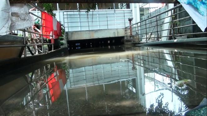 Nước nhấn chìm cả trăm xe máy, ô tô trong chung cư - Ảnh 1.