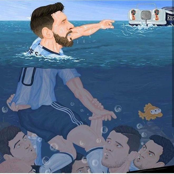 Biếm họa Messi cõng cả tuyển Argentina trên lưng - Ảnh 4.