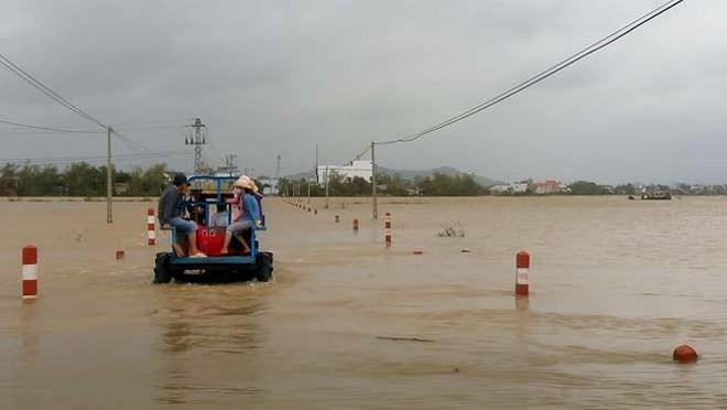 Đường phố Bình Định chìm trong biển nước, người dân dùng máy cày vượt lũ - Ảnh 6.