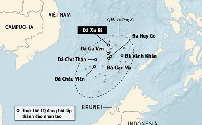 Các đảo nhân tạo mà Trung Quốc bồi lấp trái phép trên Biển Đông. Ảnh: WSJ.