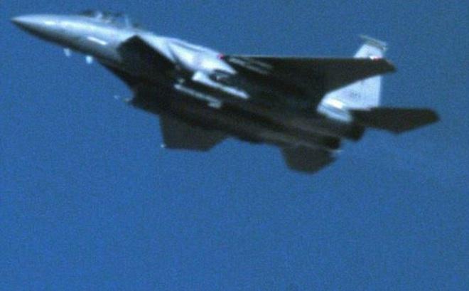 Chiếc F-15E thả quả bom hạt nhân tại địa điểm thử nghiệm Tonopah đầu tháng 8. (Ảnh: Twitter)