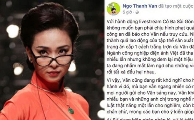 """Ngô Thanh Vân """"trưng cầu dân ý"""" cách xử lý người livestream lén """"Cô Ba Sài Gòn"""""""