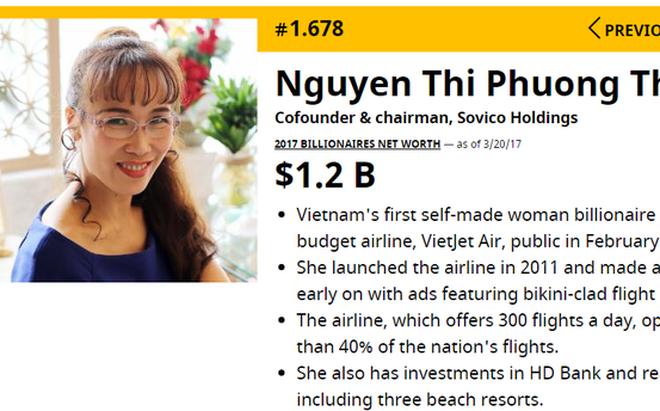 Forbes: Việt Nam có 2 tỷ phú, tổng tài sản 3,6 tỷ USD