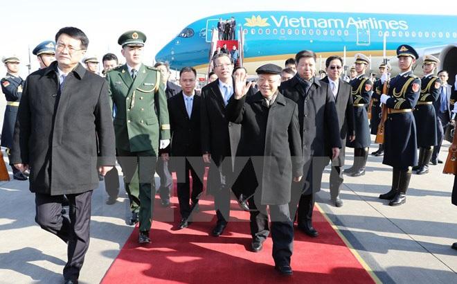 Lễ đón chính thức Tổng Bí thư Nguyễn Phú Trọng tại Trung Quốc