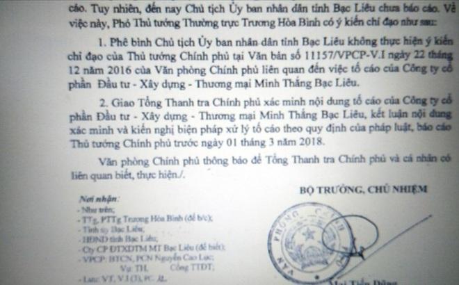 Vì sao Chủ tịch UBND tỉnh Bạc Liêu bị Chính phủ phê bình?