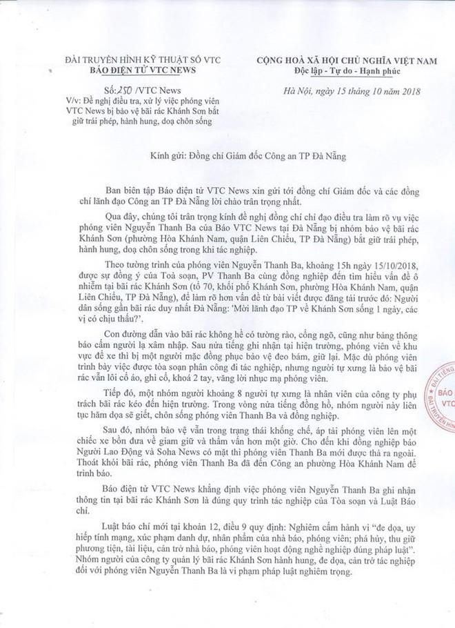 Vụ phóng viên bị dọa chôn xác: Tổng Biên tập báo VTC News đề nghị Công an Đà Nẵng điều tra - Ảnh 2.