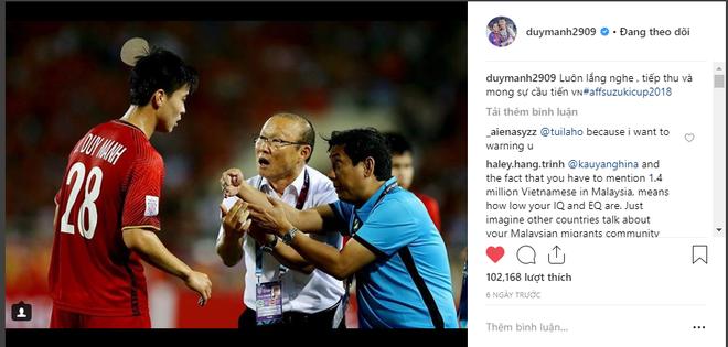 Tài khoản cá nhân của Duy Mạnh bị CĐV Malaysia tấn công sau trận chung kết lượt đi - Ảnh 1.