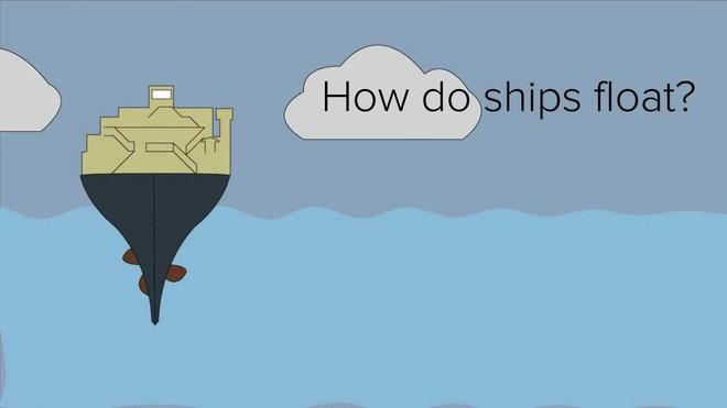 Tại sao tàu nặng cả trăm ngàn tấn có thể nổi trên mặt nước mà 1 thanh sắt thì không? - ảnh 1