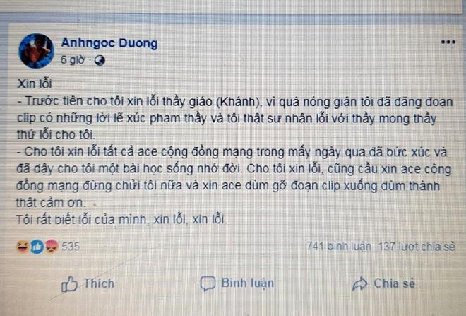 Nữ phụ huynh xúc phạm thầy giáo đã xin lỗi cộng đồng mạng - Ảnh 1.