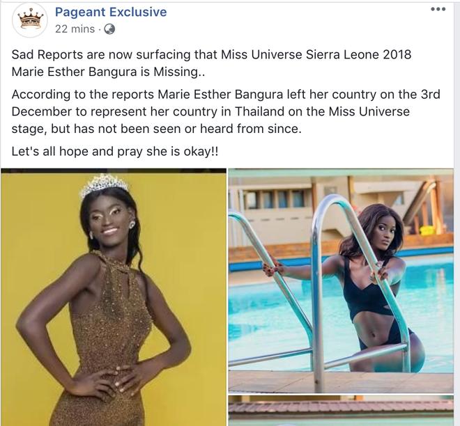 Hoa hậu Sierra Leone bất ngờ mất tích khi lên đường đến Thái Lan dự thi Miss Universe? - Ảnh 1.